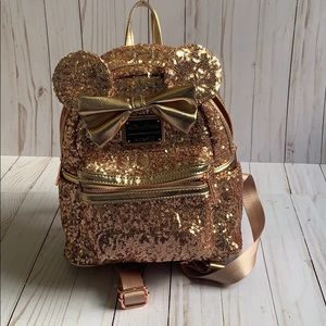 Disney Loungefly rose gold sequin backpack